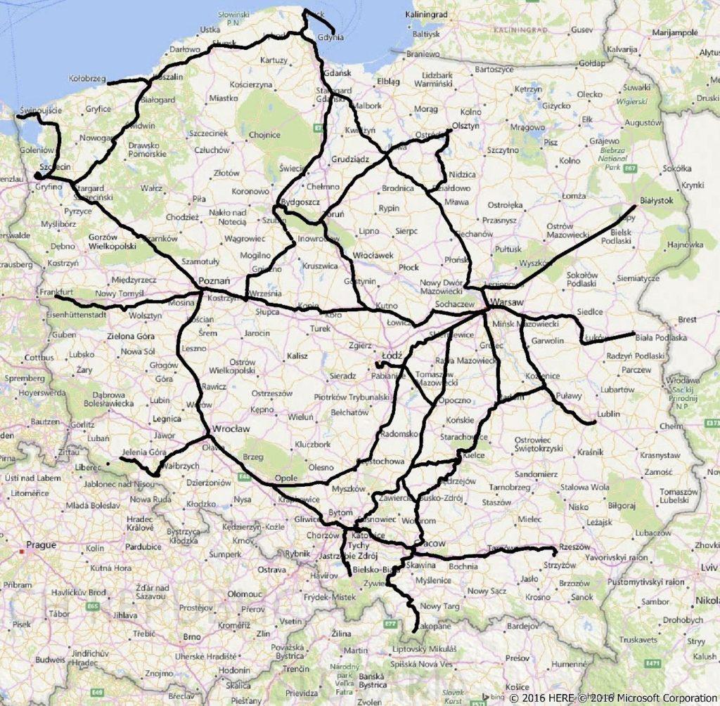 Zasięg badania przeprowadzonego na trasach kolejowych w sierpniu 2016 r. Źródło: www.uke.gov.pl