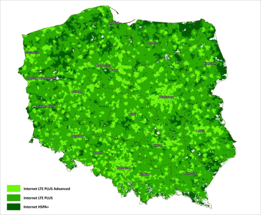 Zasięg Internetu LTE PLUS Advanced, LTE PLUS oraz HSPA+ Grupy Cyfrowy Polsat